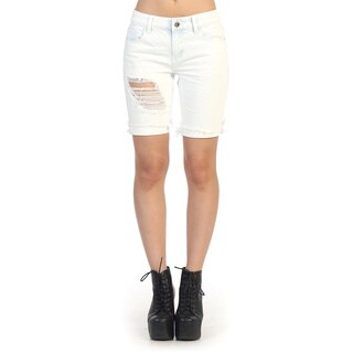 Hadari Women's Contemporary Juniors White Cotton Bermuda Shorts