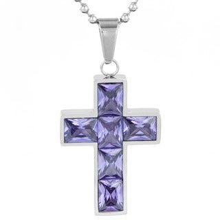 ELYA Stainless Steel Purple Crystal Cross Pendant Necklace