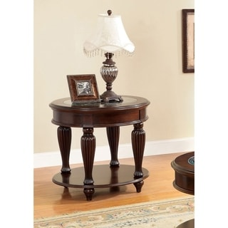 Zerathe Transitional Dark Cherry Glass Top End Table by FOA