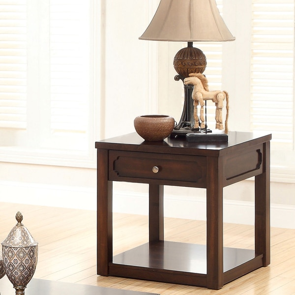 Furniture of America Desiree Brown Cherry End Table