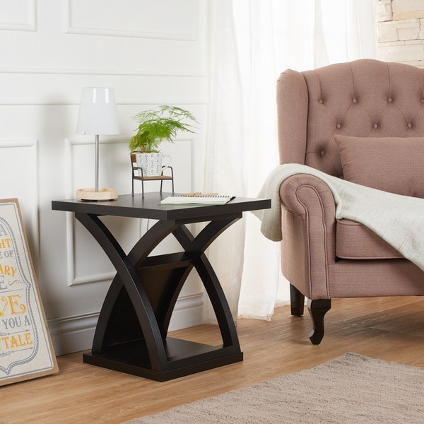 Furniture Of America Barkley Modern Espresso X Base End Table