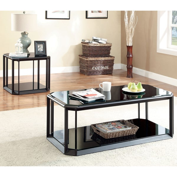 shop furniture of america mortecia 3 piece glass and metal coffee and end table set free. Black Bedroom Furniture Sets. Home Design Ideas
