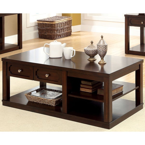 Shop Furniture Of America Desiree Brown Cherry Coffee Table   Free Shipping  Today   Overstock   9264148