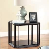 Furniture of America Mortecia Black Glass and Metal End Table