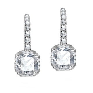 Faceted Square White CZ .925 Silver Leverback Earrings (Thailand)