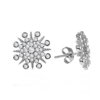 Handmade Exquisite Snowflake Cubic Zirconia .925 Silver Earrings (Thailand)