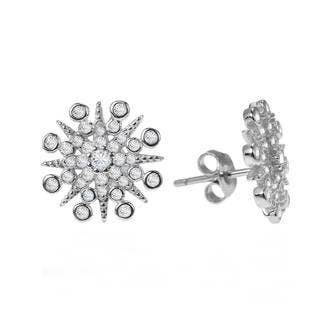 Handmade Exquisite Snowflake Cubic Zirconia .925 Silver Earrings (Thailand)|https://ak1.ostkcdn.com/images/products/9264165/P16428622.jpg?impolicy=medium