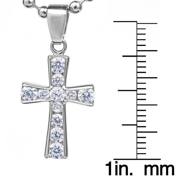 ELYA Stainless Steel Graduated Cubic Zirconia Cross Pendant Necklace