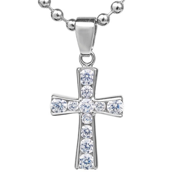 ELYA Stainless Steel Graduated Cubic Zirconia Cross Pendant Necklace. Opens flyout.
