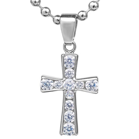 ELYA Stainless Steel Graduated Cubic Zirconia Cross Pendant Necklace