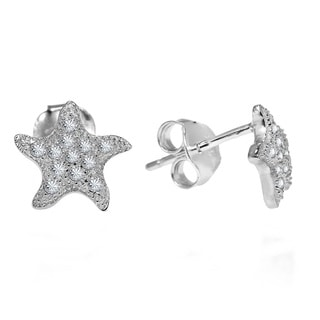 Dazzling Wavy Starfish Cubic Zirconia .925 Silver Earrings (Thailand)
