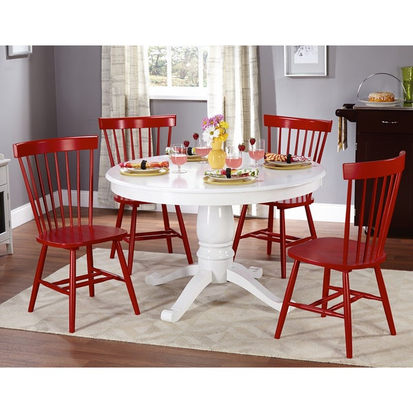 Charmant Simple Living Kale 5 Piece White/ Red Dining Set