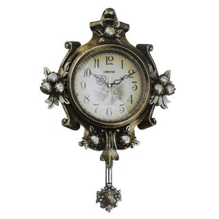 Beautiful Antique Style 25-inch Wall Clock with Swinging Pendulum
