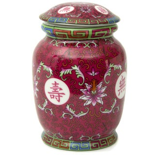 Handmade Tang Fuchsia Ceramic Covered Tea Jar (China)