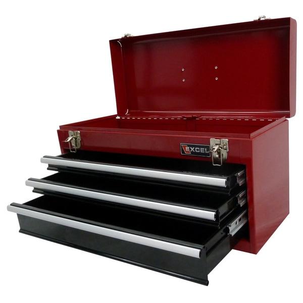 shop excel 21-inch portable steel tool box