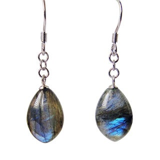 Sterling Silver Labradorite Gemstone Dangle Earrings