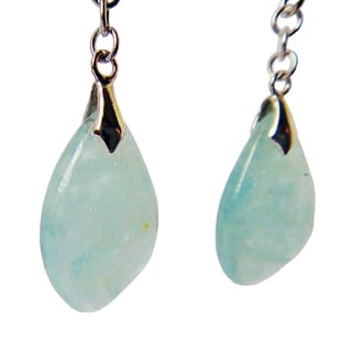 Sterling Silver Aquamarine Gemstone Dangle Earrings