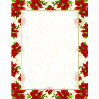 Poinsettia Swirl Holiday Designer Paper