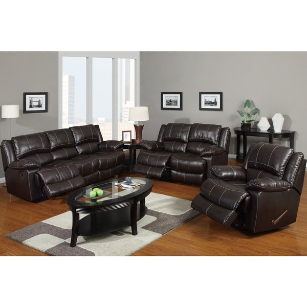 reims dark brown bonded leather 3 piece reclining living room set
