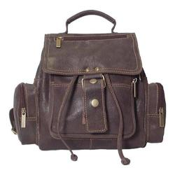 David King Leather 6331 Mid Sized Distressed Top Handle Backpack Brown