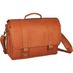 David King Leather 142 Porthole Laptop Briefcase Tan