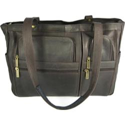 David King Leather 147 Womens Multipocket Briefcase Cafe