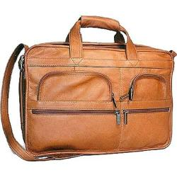 David King Leather 151 Organizer Briefcase Tan