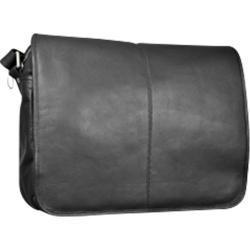 David King Leather 161 Flapover Messenger Black