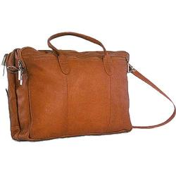 David King Leather 178 Double Zip Portfolio Tan