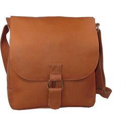 David King Leather 187 Vertical Laptop Messenger Bag Tan