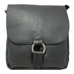 David King Leather 187 Vertical Laptop Messenger Bag Black