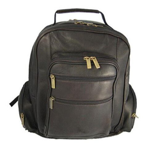 David King Leather 349 Oversize Laptop Backpack Cafe