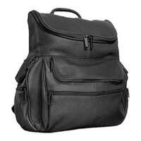 David King Leather 353 Multi Pocket Backpack Black