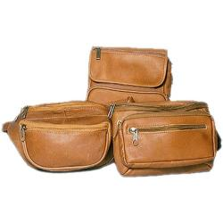 David King Leather 409 Large Double Pocket Waist Pack Tan