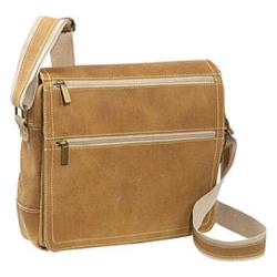 David King Leather 6155 Distressed Double Zip Flap Messenger Tan