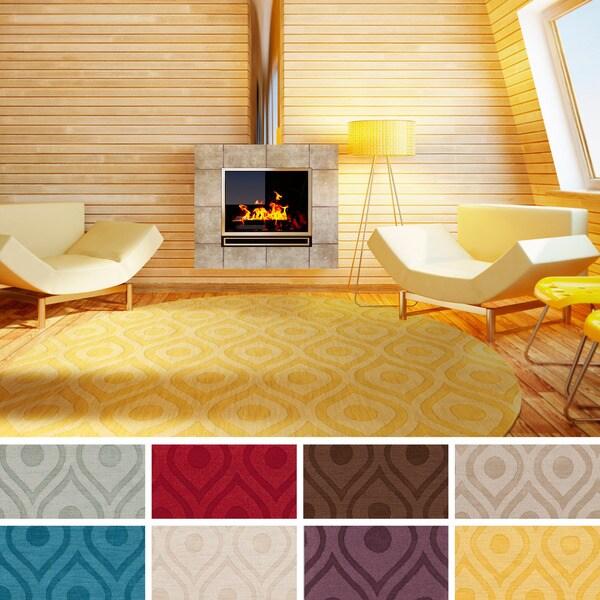 Hand-Woven Abi Tone-on-Tone Wool Rug (7'9 Round) - 7'9