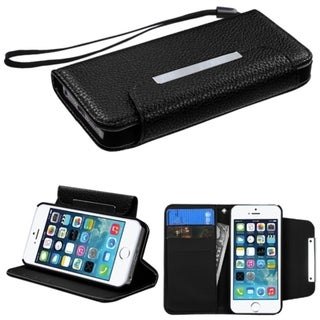 INSTEN Stand Lanyard Wallet Magnetic Flap Leather Phone Case Cover for Apple iPhone 5/ 5S/ SE