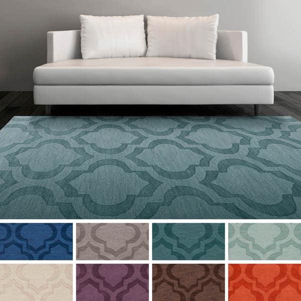 Hand-Woven Ali Tone-on-Tone Moroccan Trellis Wool Rug - 2' x 3'