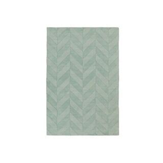 Hand-Woven Ann Tone-on-Tone Zig-Zag Wool Rug (9' x 12')