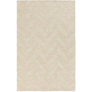 Hand-Woven Ann Tone-on-Tone Zig-Zag Wool Rug (9' x 12') (Option: Gold)