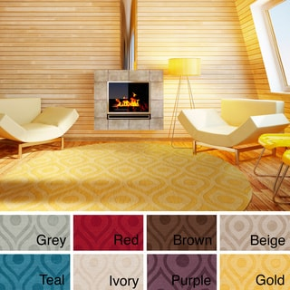 Hand-Woven Abi Tone-on-Tone Wool Rug (6' Round) - 6'