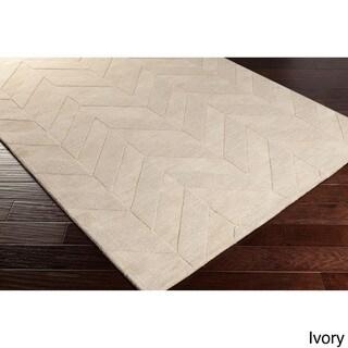 Hand-Woven Ann Tone-on-Tone Zig-Zag Wool Rug (3' x 5')