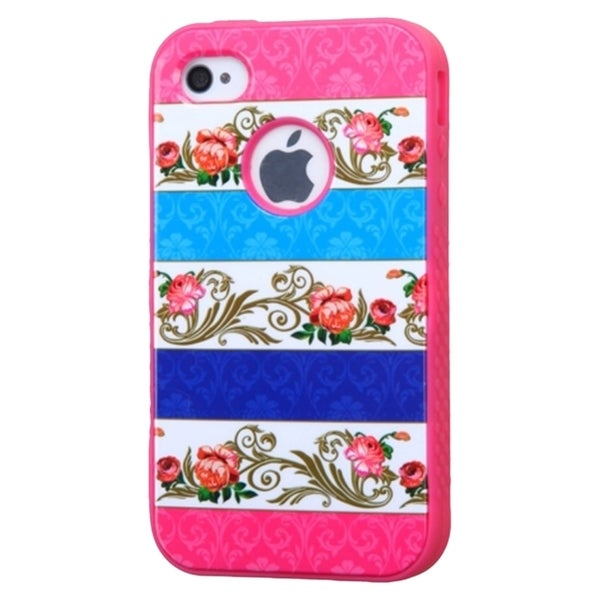 INSTEN Shock Proof PC Soft Silicone Dual Hybrid Phone Case Cover for Apple iPhone 4/ 4S
