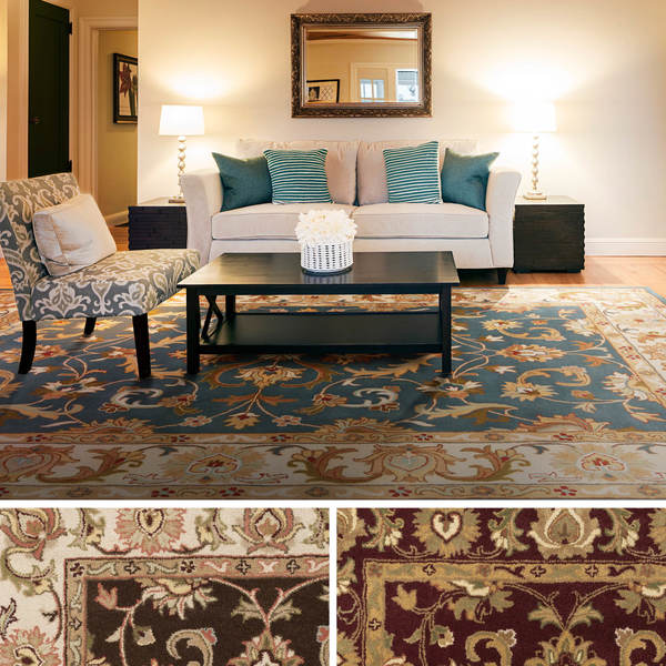 Hand-Tufted Poppy Traditonal Bordered Wool Rug (7'6 x 9'6)