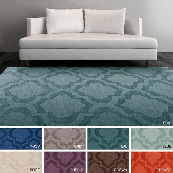 Hand-Woven Ali Tone-on-Tone Moroccan Trellis Wool Rug (9' x 12') - 9' x 12'