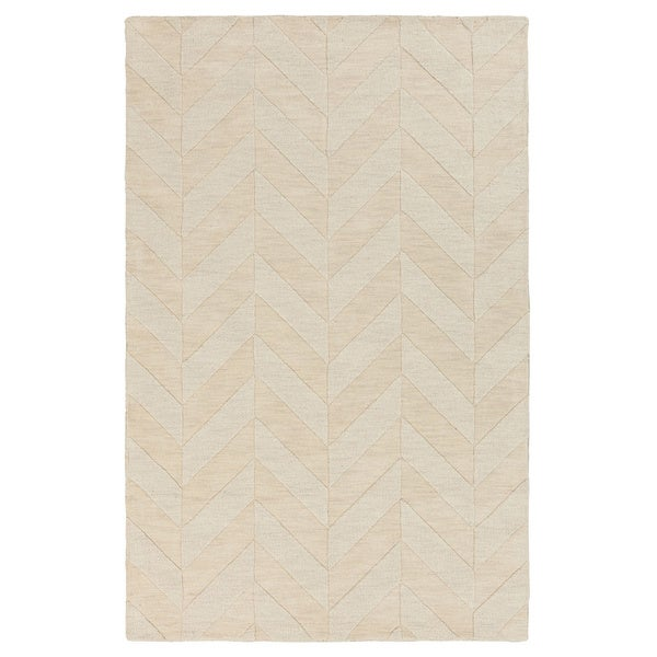Hand-Woven Ann Tone-on-Tone Zig-Zag Wool Rug - 8' x 10'