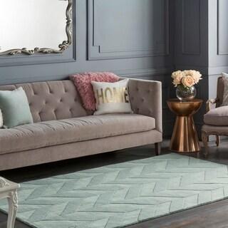 Porch & Den Alpine Hand-woven Tone-on-tone Zig-Zag Wool Area Rug (Blue - 8 x 10)
