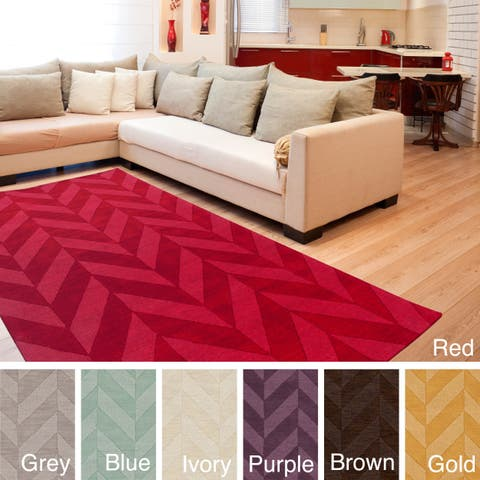 Porch & Den Alpine Hand-woven Tone-on-tone Zig-Zag Wool Area Rug