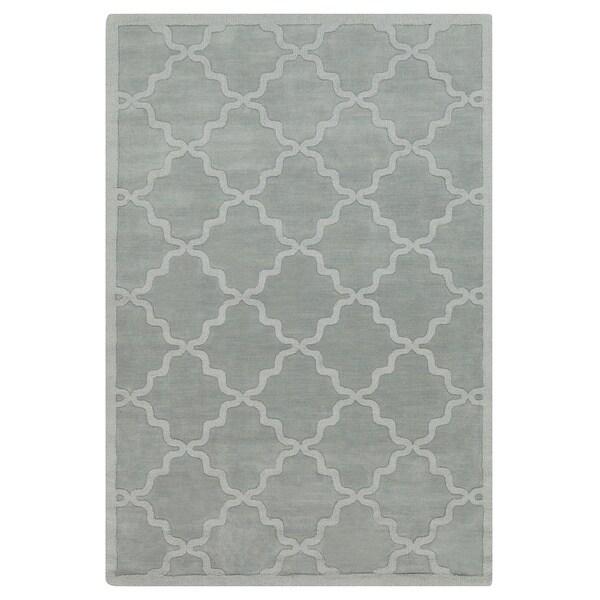 Copper Grove Glacier Hand-woven Tone-on-Tone Lattice Wool Rug - 8' x 10'