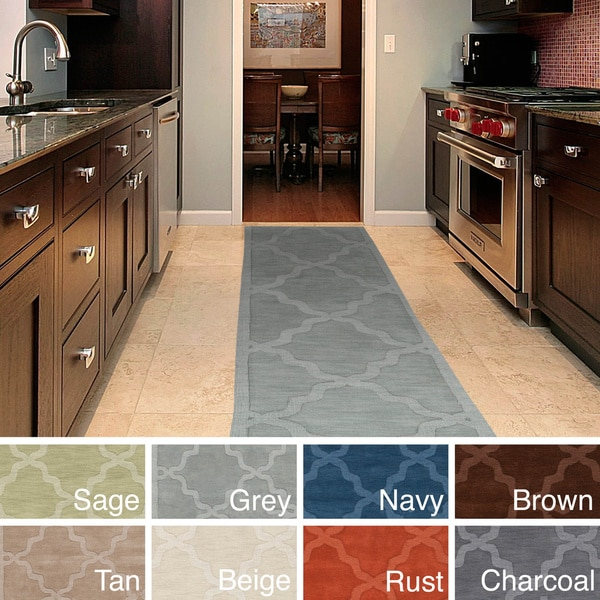 Copper Grove Glacier Hand-woven Tone-on-Tone Lattice Wool Runner Rug. Opens flyout.